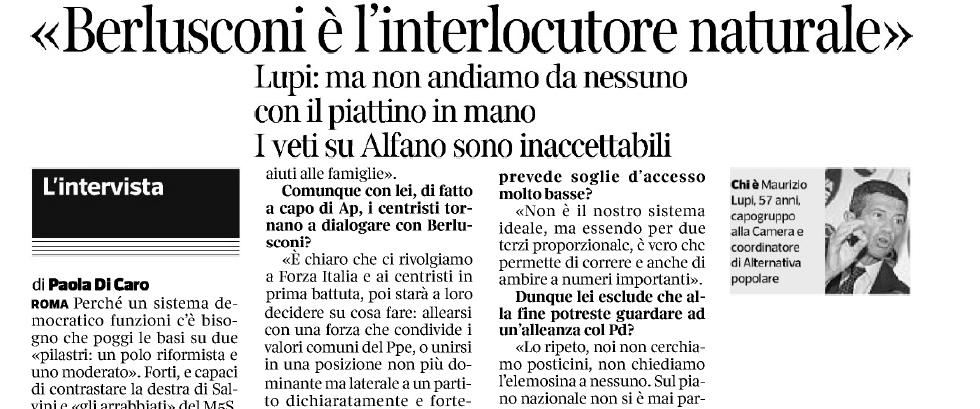 La mia intervista al Corriere della Sera, del 28/09/2017