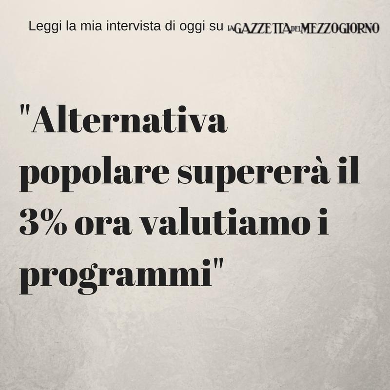 Alternativa popolare supererà il 3% ora valutiamo i programmi